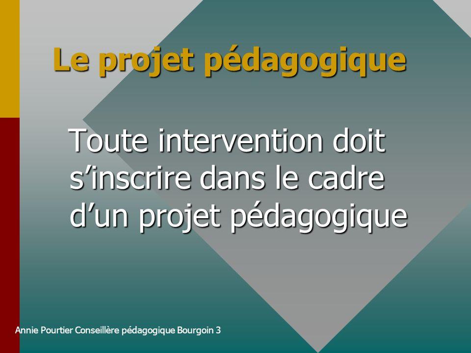 Annie Pourtier Conseillère pédagogique Bourgoin 3 Le projet pédagogique Toute intervention doit sinscrire dans le cadre dun projet pédagogique Toute i