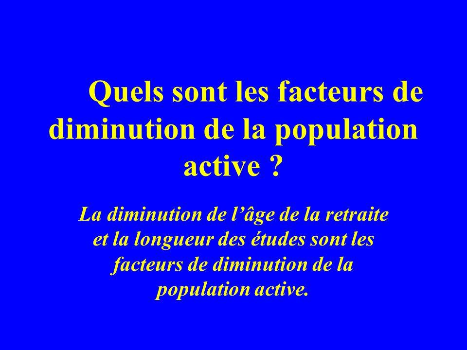 Quels sont les facteurs de diminution de la population active ? La diminution de lâge de la retraite et la longueur des études sont les facteurs de di
