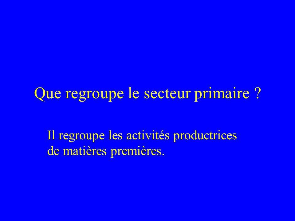 Que regroupe le secteur primaire ? Il regroupe les activités productrices de matières premières.