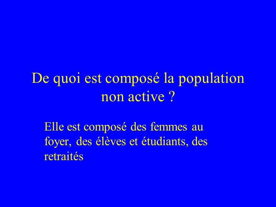 De quoi est composé la population non active ? Elle est composé des femmes au foyer, des élèves et étudiants, des retraités