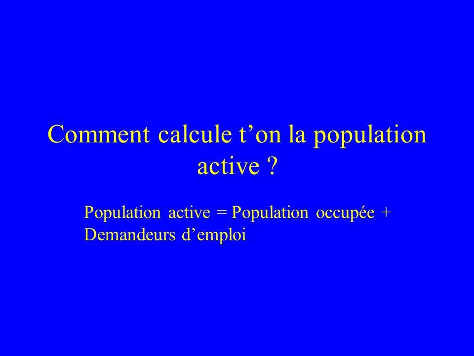 Comment calcule ton la population active ? Population active = Population occupée + Demandeurs demploi