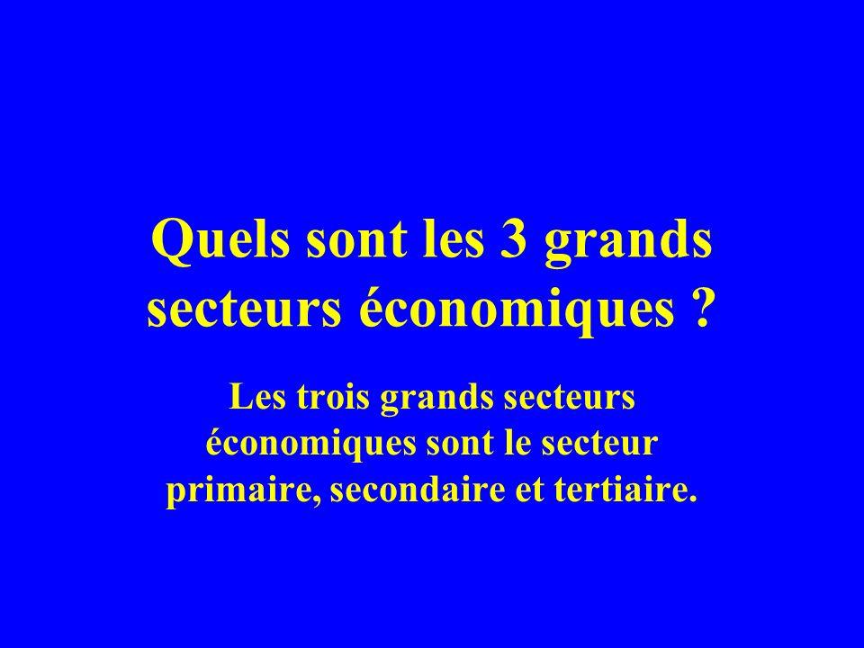 Quels sont les 3 grands secteurs économiques ? Les trois grands secteurs économiques sont le secteur primaire, secondaire et tertiaire.