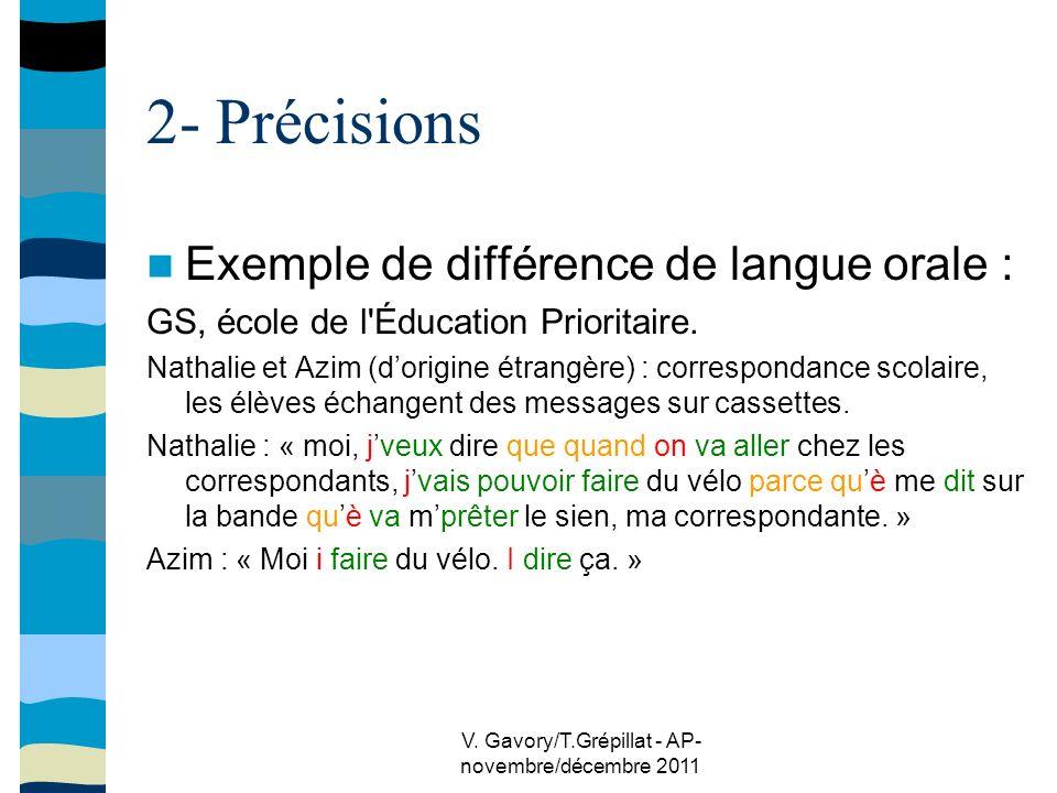 V. Gavory/T.Grépillat - AP- novembre/décembre 2011 2- Précisions Exemple de différence de langue orale : GS, école de l'Éducation Prioritaire. Nathali