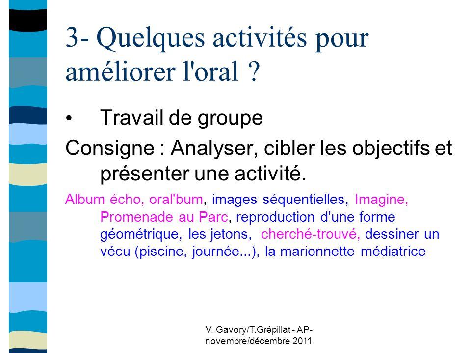 V.Gavory/T.Grépillat - AP- novembre/décembre 2011 3- Quelques activités pour améliorer l oral .