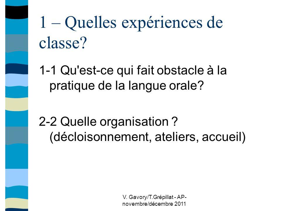 V.Gavory/T.Grépillat - AP- novembre/décembre 2011 1 – Quelles expériences de classe.