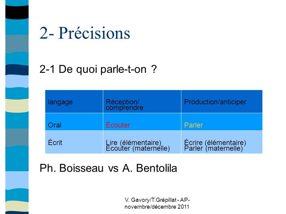 V. Gavory/T.Grépillat - AP- novembre/décembre 2011 2- Précisions 2-1 De quoi parle-t-on .