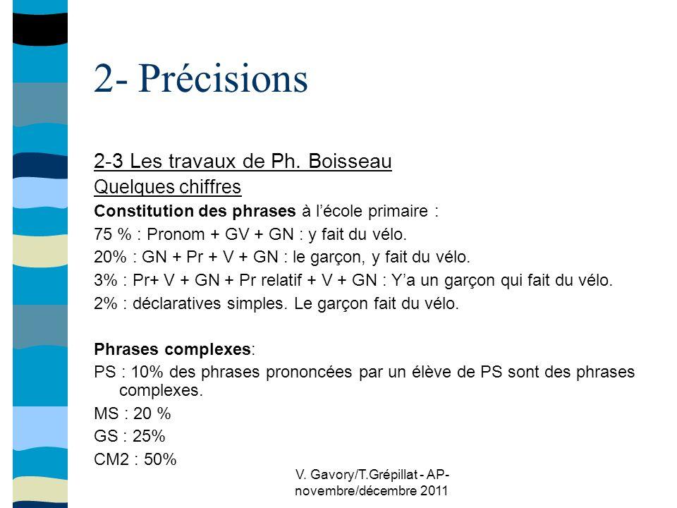 V.Gavory/T.Grépillat - AP- novembre/décembre 2011 2- Précisions 2-3 Les travaux de Ph.