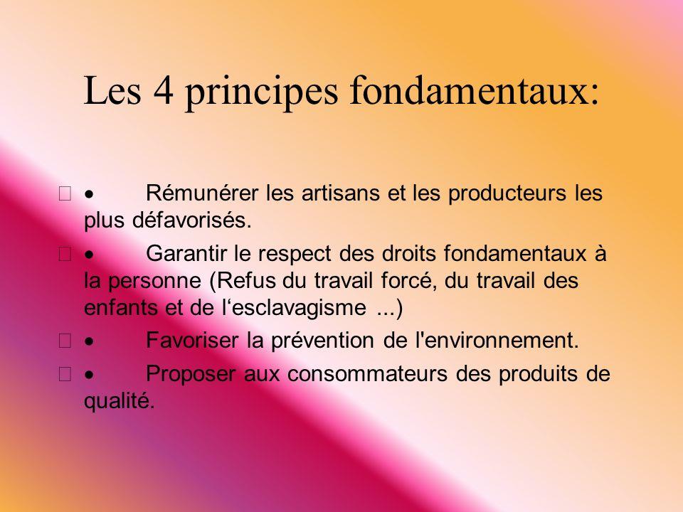 Les 4 principes fondamentaux: Rémunérer les artisans et les producteurs les plus défavorisés. Garantir le respect des droits fondamentaux à la personn