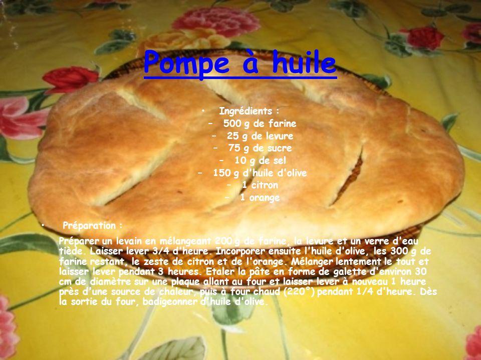 Pompe à huile Ingrédients : –500 g de farine –25 g de levure –75 g de sucre –10 g de sel –150 g d'huile d'olive –1 citron –1 orange Préparation : Prép