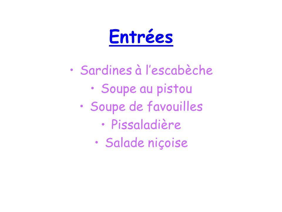 Plats Raviolis à la niçoise Bouillabaisse Escargot à la provençale Oursinade marseillaise