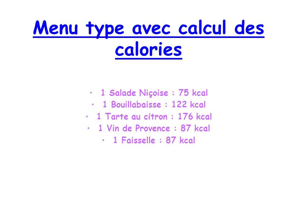 Menu type avec calcul des calories 1 Salade Niçoise : 75 kcal 1 Bouillabaisse : 122 kcal 1 Tarte au citron : 176 kcal 1 Vin de Provence : 87 kcal 1 Faisselle : 87 kcal