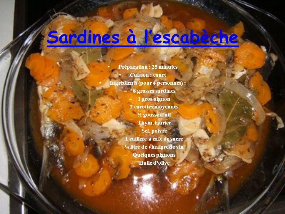 Sardines à lescabèche Préparation : 25 minutes Cuisson : court Ingrédients (pour 4 personnes) : –8 grosses sardines –1 gros oignon –2 carottes moyennes –½ gousse dail –Thym, laurier –Sel, poivre –1 cuillère à café de sucre –¼ litre de vinaigre de vin –Quelques pignons –Huile dolive