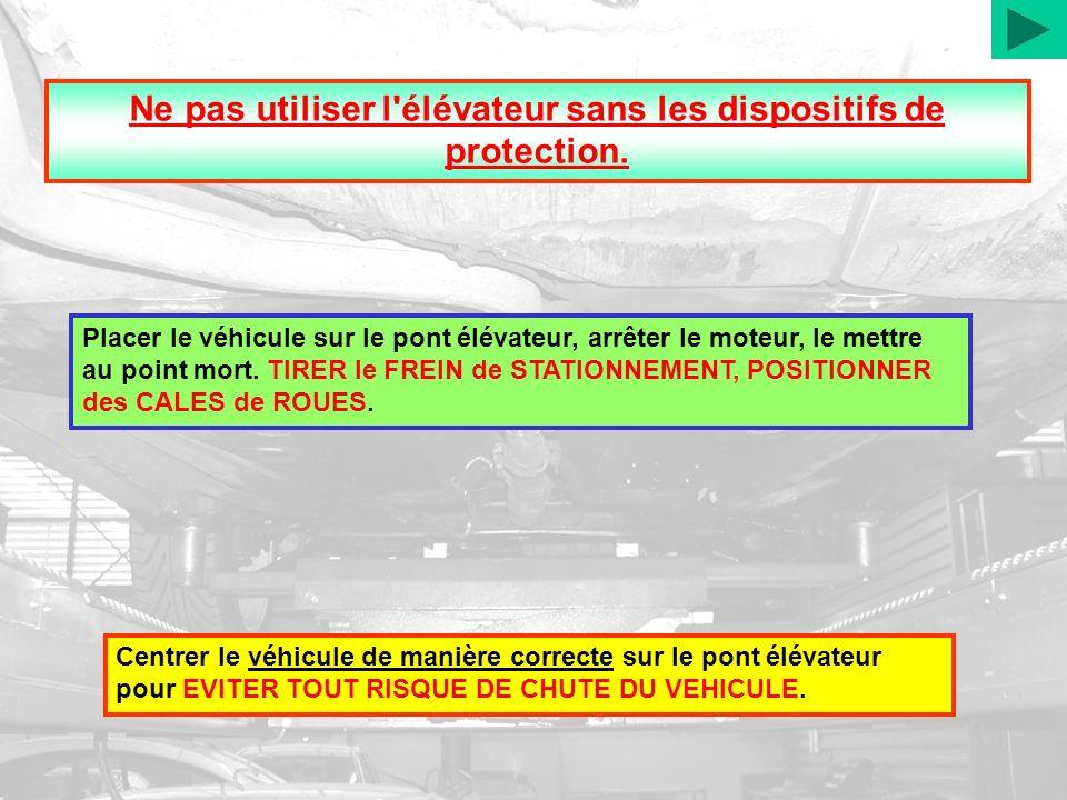 Ne pas utiliser l'élévateur sans les dispositifs de protection. Placer le véhicule sur le pont élévateur, arrêter le moteur, le mettre au point mort.
