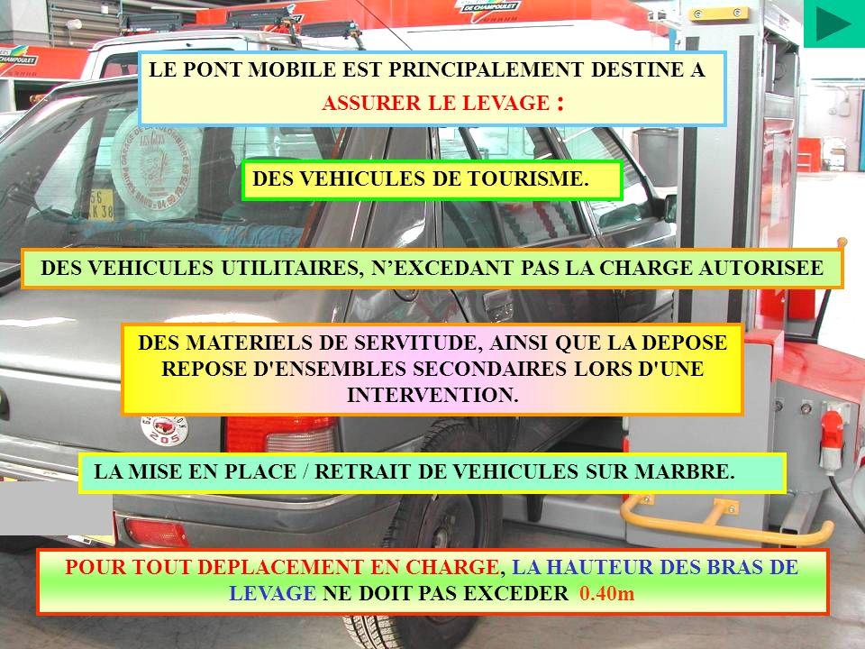 LE PONT MOBILE EST PRINCIPALEMENT DESTINE A ASSURER LE LEVAGE : DES VEHICULES DE TOURISME. DES VEHICULES UTILITAIRES, NEXCEDANT PAS LA CHARGE AUTORISE
