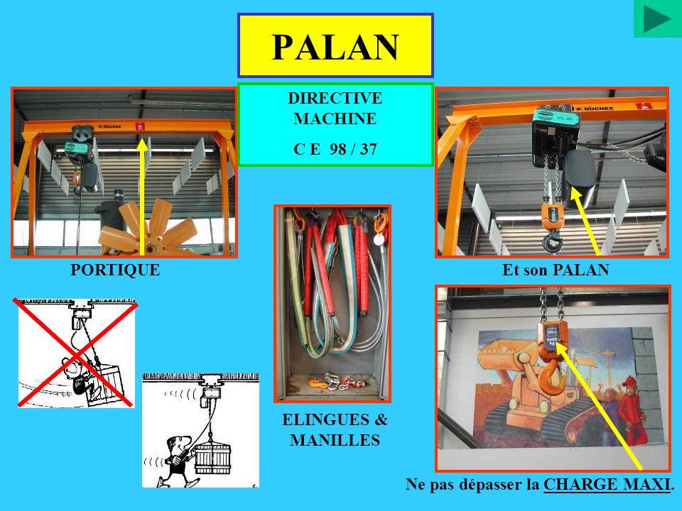 PALAN PORTIQUEEt son PALAN ELINGUES & MANILLES Ne pas dépasser la CHARGE MAXI. DIRECTIVE MACHINE C E 98 / 37