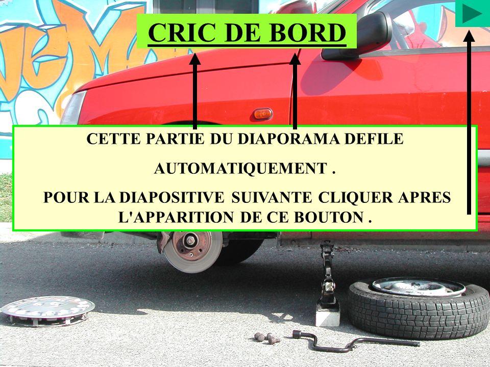 CETTE PARTIE DU DIAPORAMA DEFILE AUTOMATIQUEMENT. POUR LA DIAPOSITIVE SUIVANTE CLIQUER APRES L'APPARITION DE CE BOUTON. CRIC DE BORD