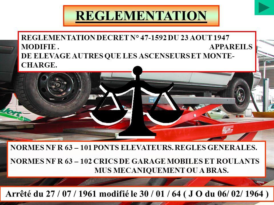 NORMES NF R 63 – 101 PONTS ELEVATEURS. REGLES GENERALES. NORMES NF R 63 – 102 CRICS DE GARAGE MOBILES ET ROULANTS MUS MECANIQUEMENT OU A BRAS. REGLEME