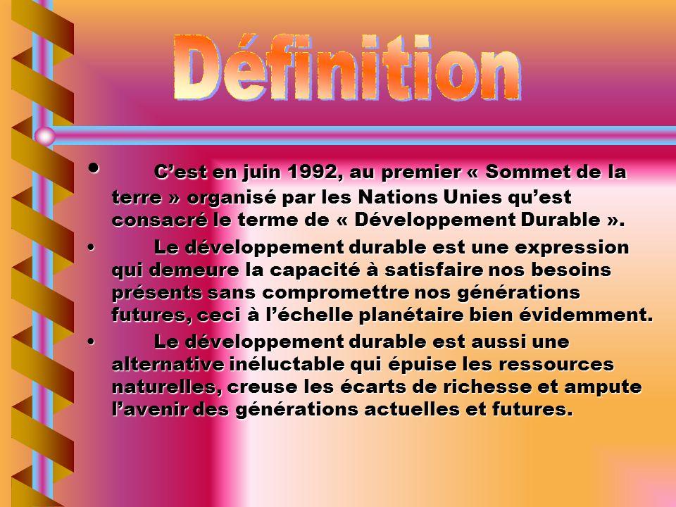 Cest Cest en juin 1992, au premier « Sommet de la terre » organisé par les Nations Unies quest consacré le terme de « Développement Durable ». LeLe dé