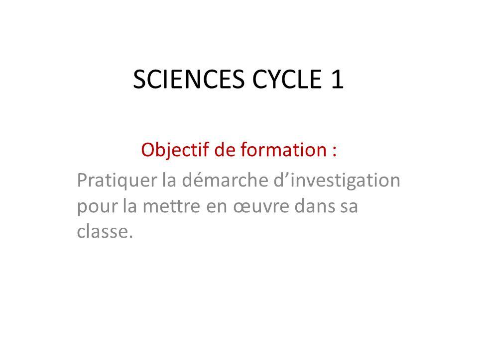 SCIENCES CYCLE 1 Objectif de formation : Pratiquer la démarche dinvestigation pour la mettre en œuvre dans sa classe.
