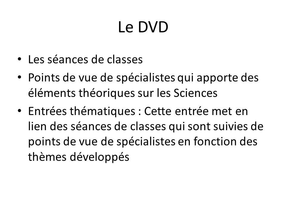 Le DVD Les séances de classes Points de vue de spécialistes qui apporte des éléments théoriques sur les Sciences Entrées thématiques : Cette entrée me