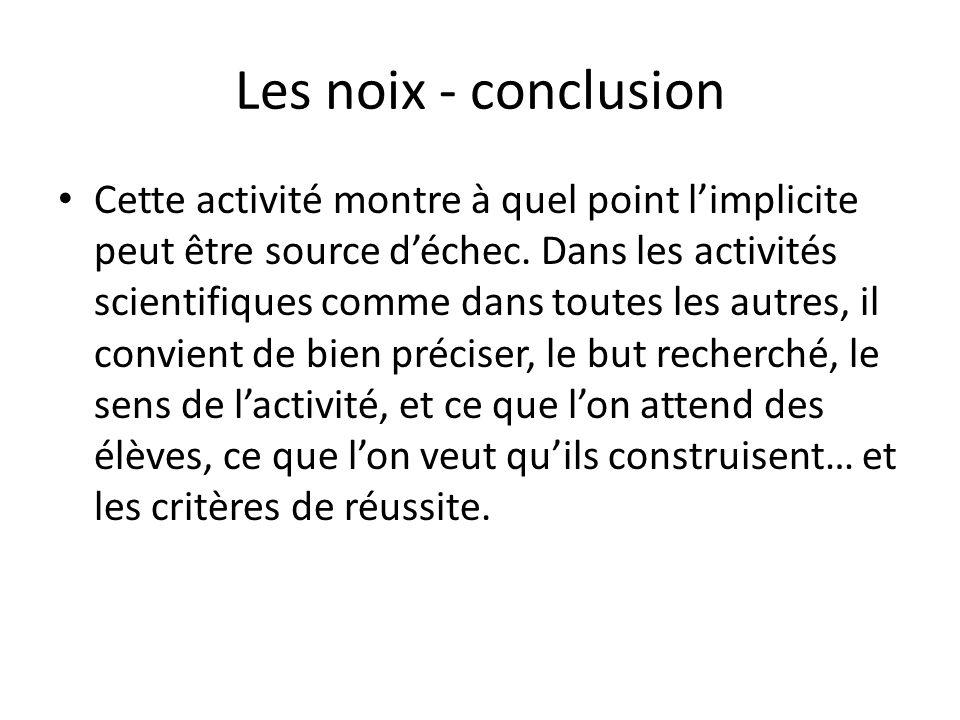 Les noix - conclusion Cette activité montre à quel point limplicite peut être source déchec. Dans les activités scientifiques comme dans toutes les au