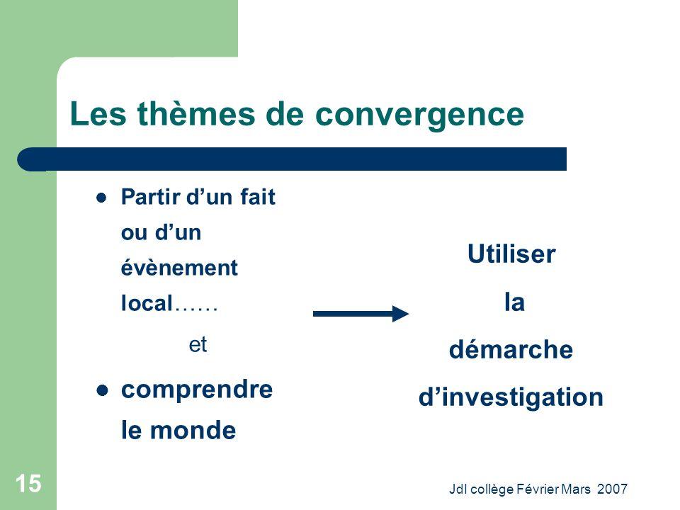 JdI collège Février Mars 2007 15 Les thèmes de convergence Partir dun fait ou dun évènement local…… et comprendre le monde Utiliser la démarche dinvestigation
