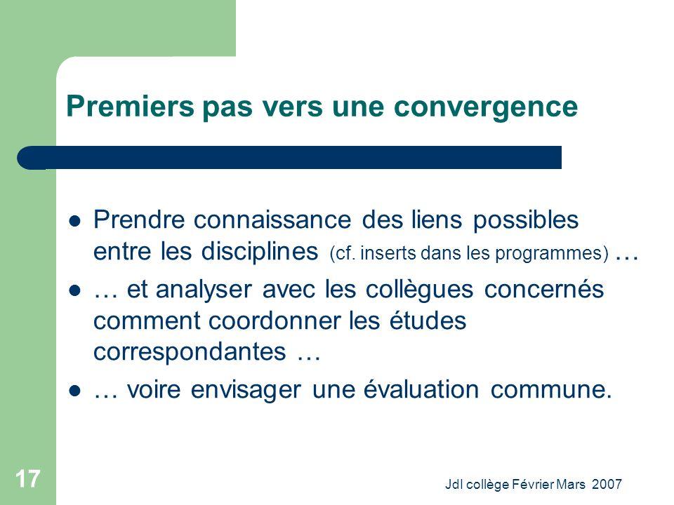 JdI collège Février Mars 2007 17 Premiers pas vers une convergence Prendre connaissance des liens possibles entre les disciplines (cf.