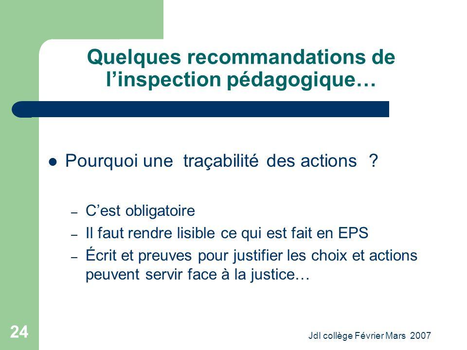 JdI collège Février Mars 2007 24 Quelques recommandations de linspection pédagogique… Pourquoi une traçabilité des actions .