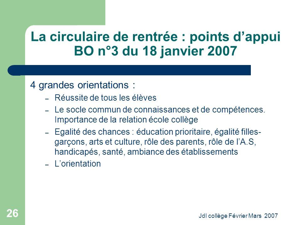 JdI collège Février Mars 2007 26 La circulaire de rentrée : points dappui BO n°3 du 18 janvier 2007 4 grandes orientations : – Réussite de tous les élèves – Le socle commun de connaissances et de compétences.