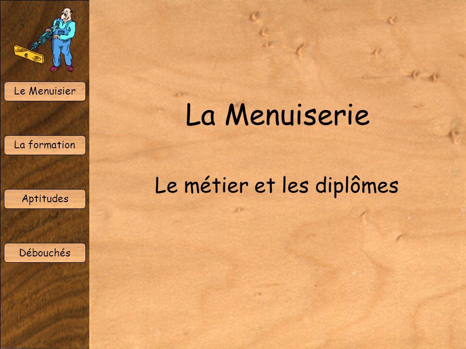 Le Menuisier La formation Aptitudes Débouchés La Menuiserie Le métier et les diplômes