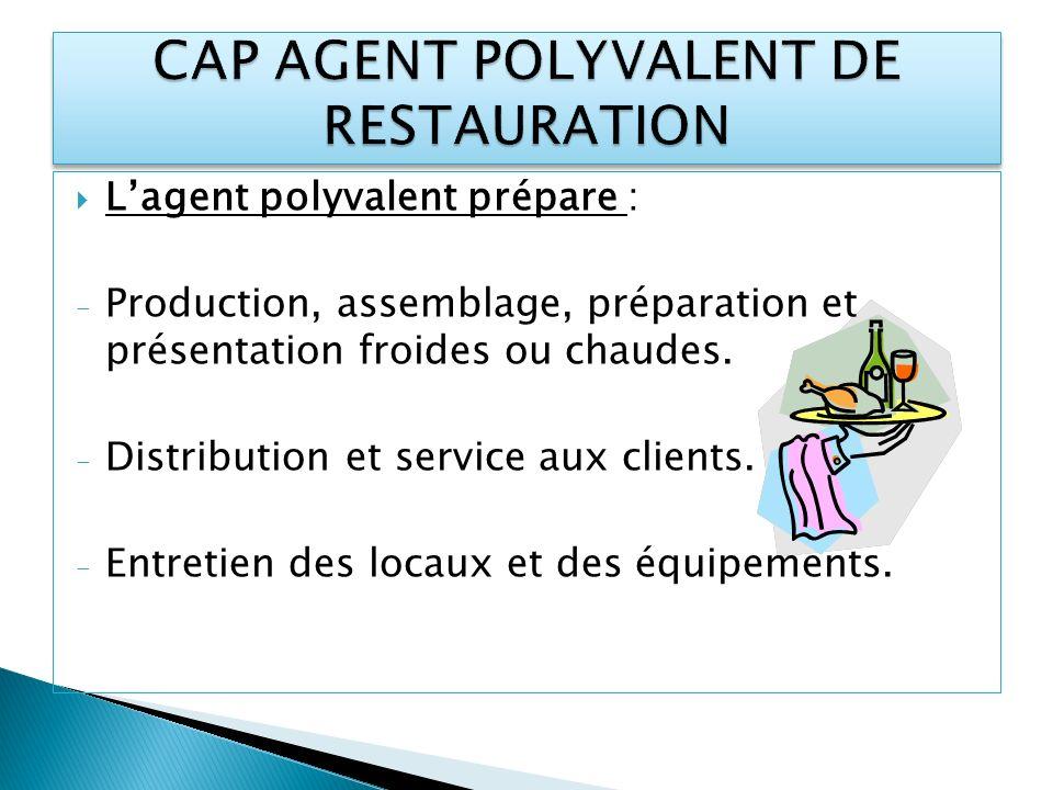 Lagent polyvalent prépare : - Production, assemblage, préparation et présentation froides ou chaudes. - Distribution et service aux clients. - Entreti