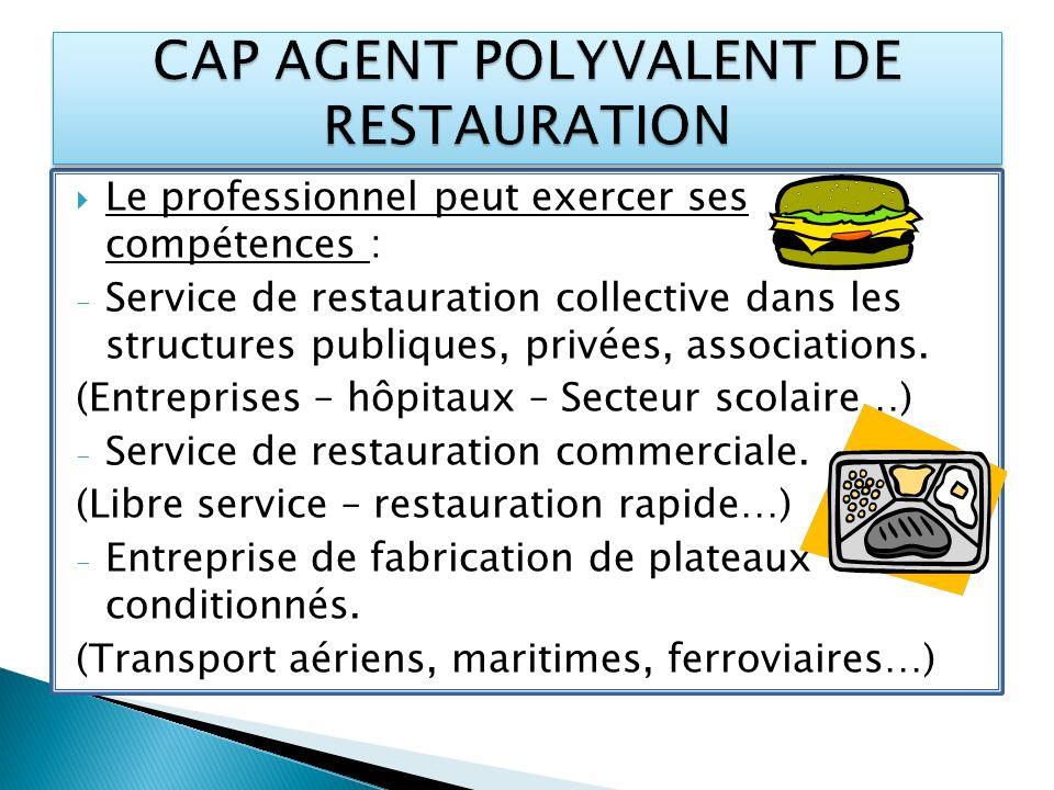 Le professionnel peut exercer ses compétences : - Service de restauration collective dans les structures publiques, privées, associations. (Entreprise