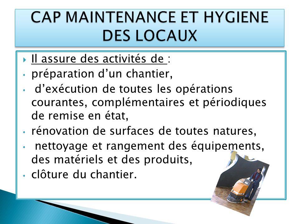 Il assure des activités de : préparation dun chantier, dexécution de toutes les opérations courantes, complémentaires et périodiques de remise en état