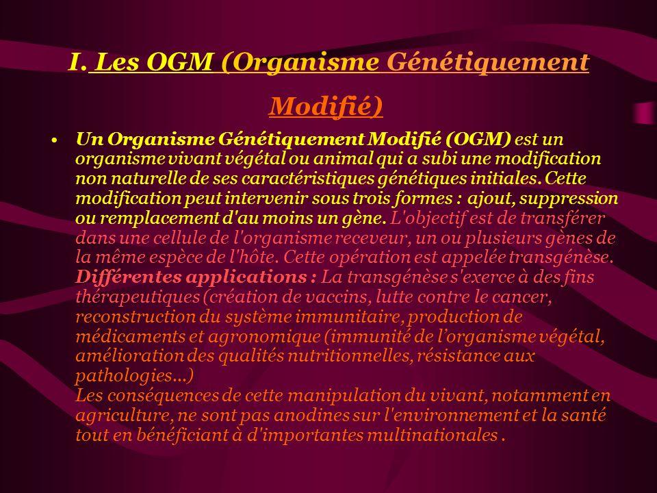 I. Les OGM (Organisme G é n é tiquement Modifi é ) II. Les Pesticides III. L'agriculture biologique IV. Irradiation des aliments