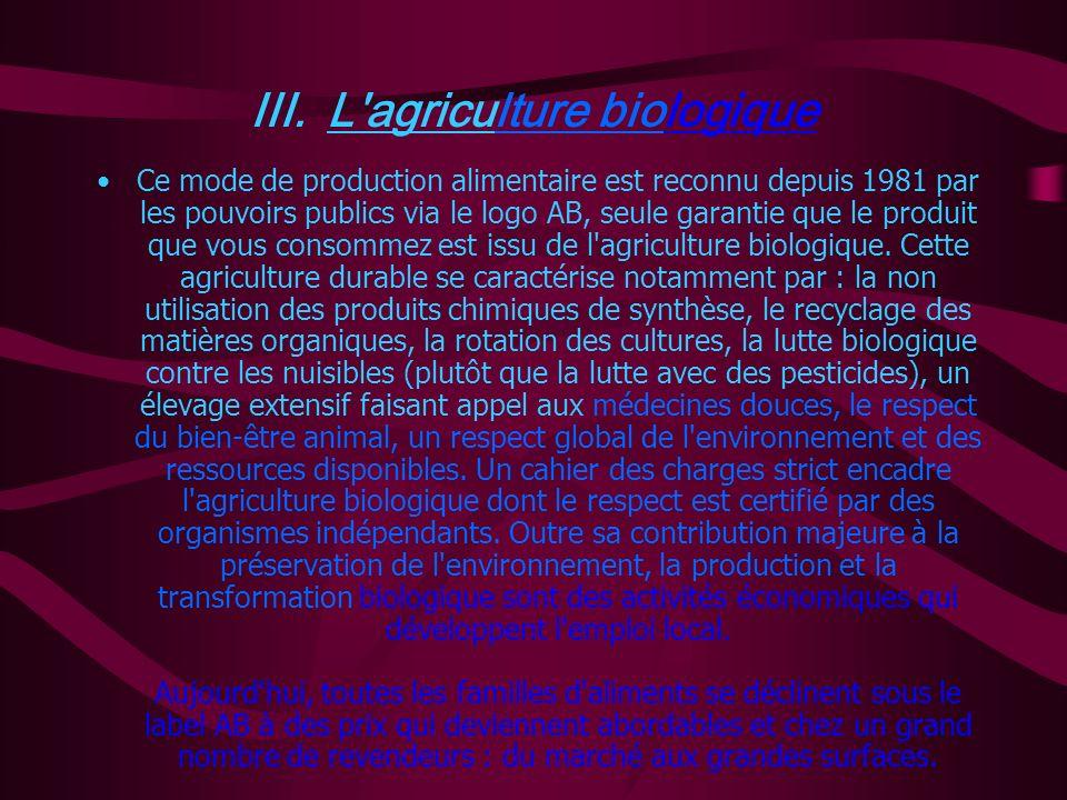 II. Les Pesticides La protection des cultures et la lutte contre les