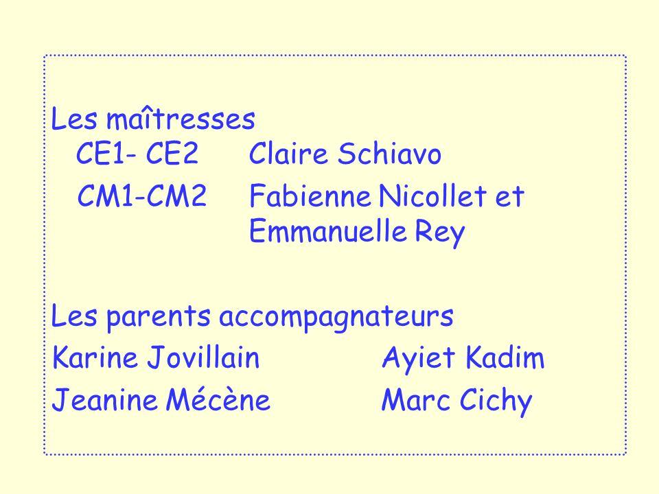 Les maîtresses CE1- CE2 Claire Schiavo CM1-CM2 Fabienne Nicollet et Emmanuelle Rey Les parents accompagnateurs Karine Jovillain Ayiet Kadim Jeanine MécèneMarc Cichy