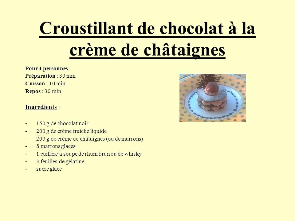 Croustillant de chocolat à la crème de châtaignes Pour 4 personnes Préparation : 30 min Cuisson : 10 min Repos : 30 min Ingrédients : -150 g de chocol