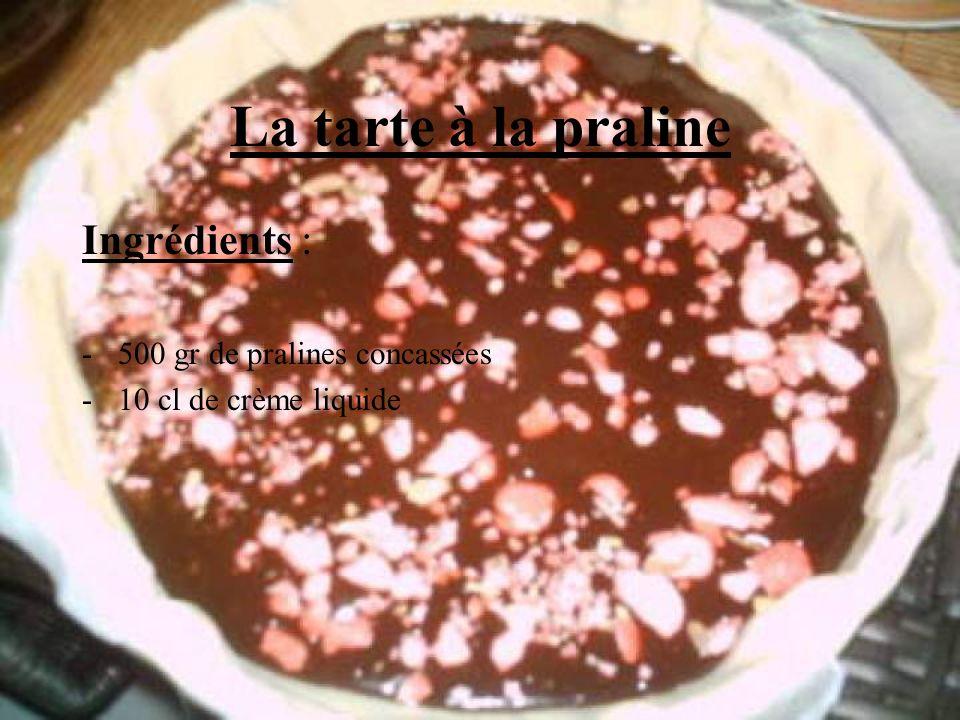 La tarte à la praline Ingrédients : -500 gr de pralines concassées -10 cl de crème liquide