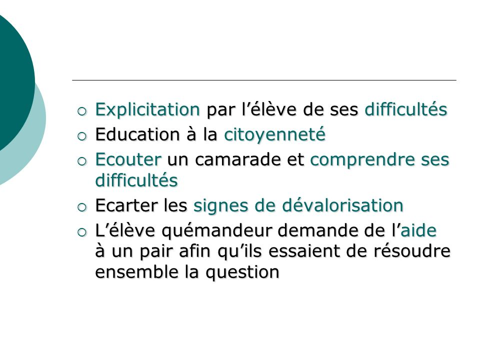 Explicitation par lélève de ses difficultés Explicitation par lélève de ses difficultés Education à la citoyenneté Education à la citoyenneté Ecouter