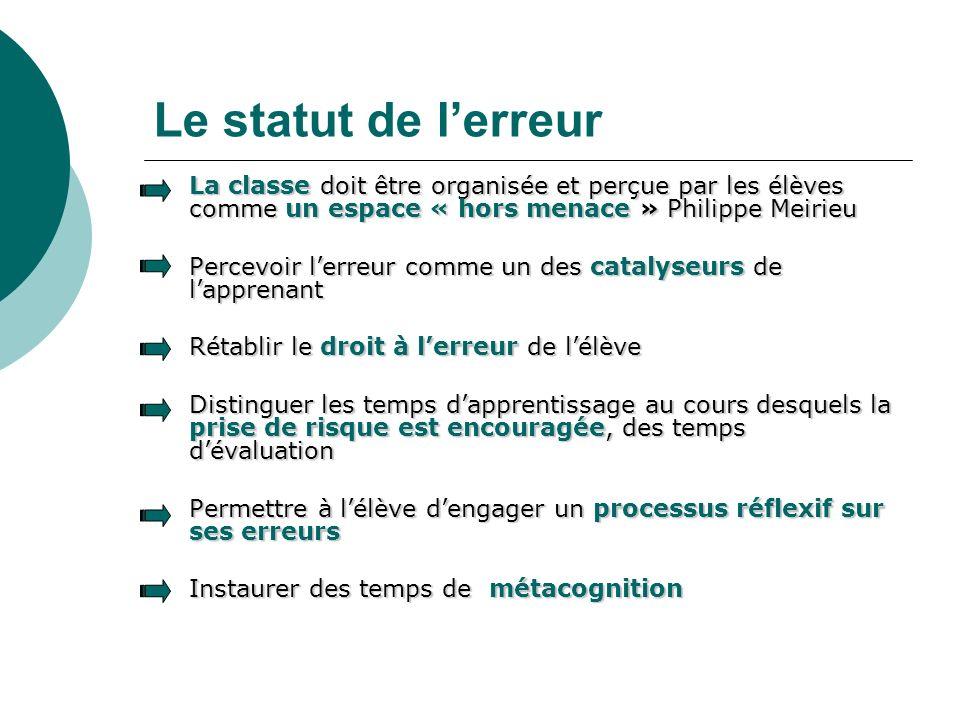 Le statut de lerreur La classe doit être organisée et perçue par les élèves comme un espace « hors menace » Philippe Meirieu La classe doit être organ