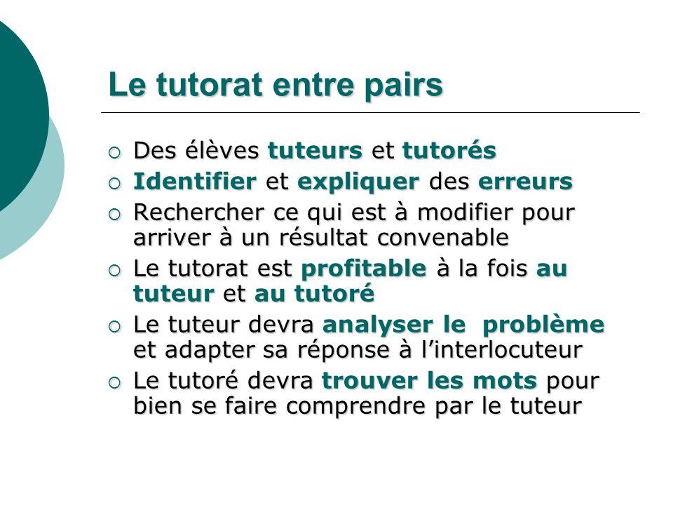 Le tutorat entre pairs Des élèves tuteurs et tutorés Des élèves tuteurs et tutorés Identifier et expliquer des erreurs Identifier et expliquer des err