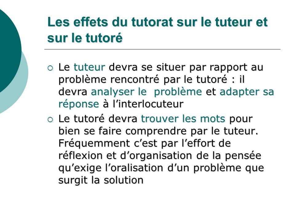 Les effets du tutorat sur le tuteur et sur le tutoré Le tuteur devra se situer par rapport au problème rencontré par le tutoré : il devra analyser le
