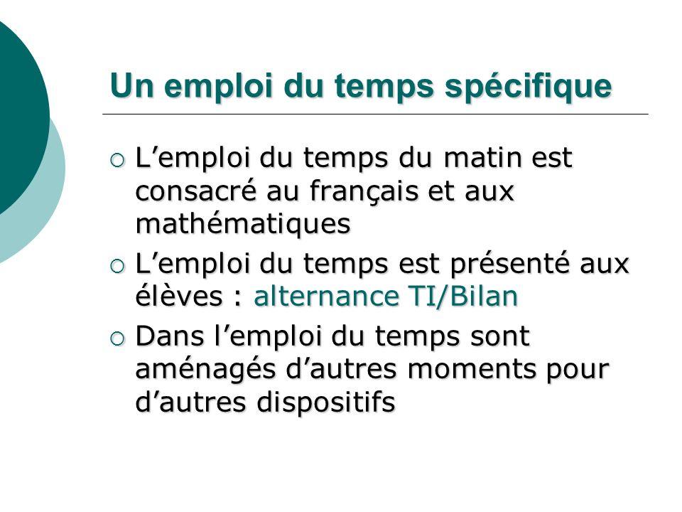 Un emploi du temps spécifique Lemploi du temps du matin est consacré au français et aux mathématiques Lemploi du temps du matin est consacré au frança