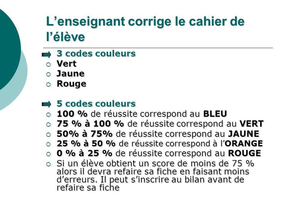 Lenseignant corrige le cahier de lélève 3 codes couleurs Vert Vert Jaune Jaune Rouge Rouge 5 codes couleurs 100 % de réussite correspond au BLEU 100 %