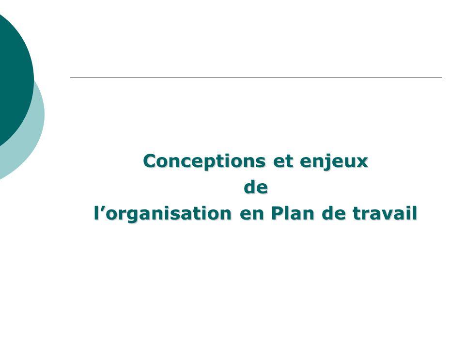 Conceptions et enjeux de lorganisation en Plan de travail