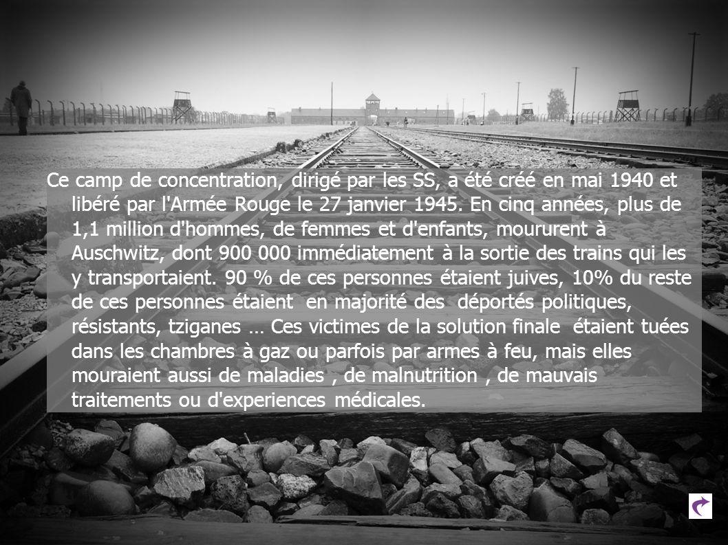 Ce camp de concentration, dirigé par les SS, a été créé en mai 1940 et libéré par l'Armée Rouge le 27 janvier 1945. En cinq années, plus de 1,1 millio