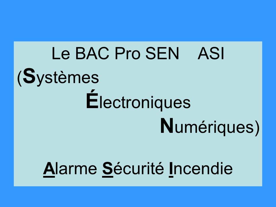 Le BAC Pro SEN ASI ( S ystèmes É lectroniques N umériques) Alarme Sécurité Incendie