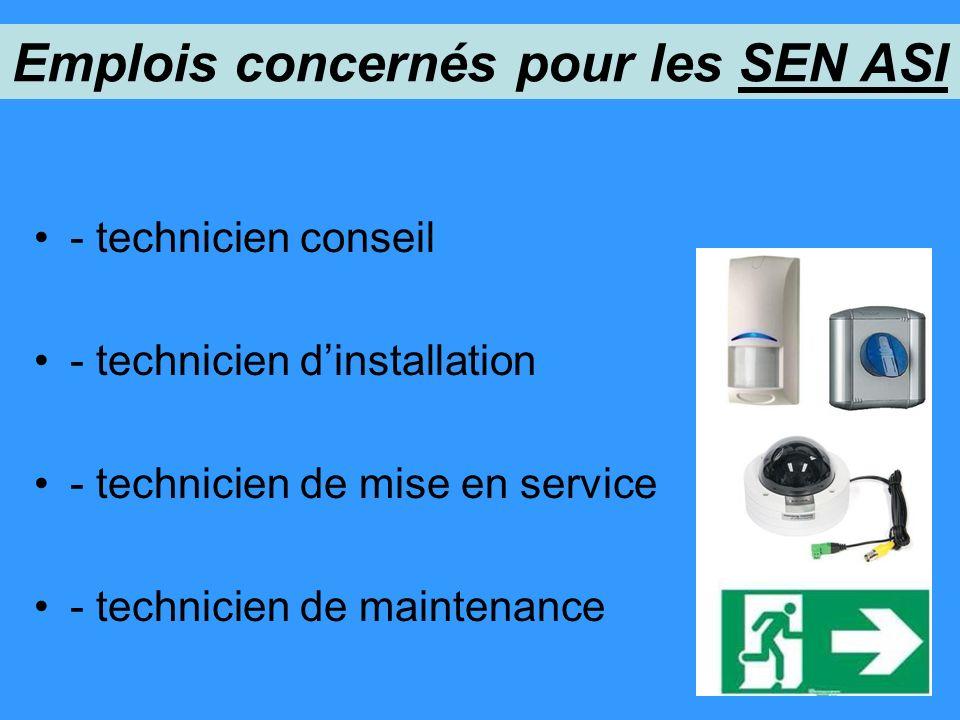 - technicien conseil - technicien dinstallation - technicien de mise en service - technicien de maintenance Emplois concernés pour les SEN ASI