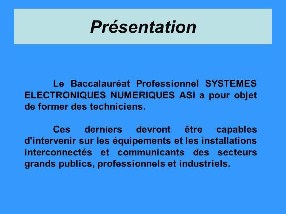 Présentation Le Baccalauréat Professionnel SYSTEMES ELECTRONIQUES NUMERIQUES ASI a pour objet de former des techniciens. Ces derniers devront être cap