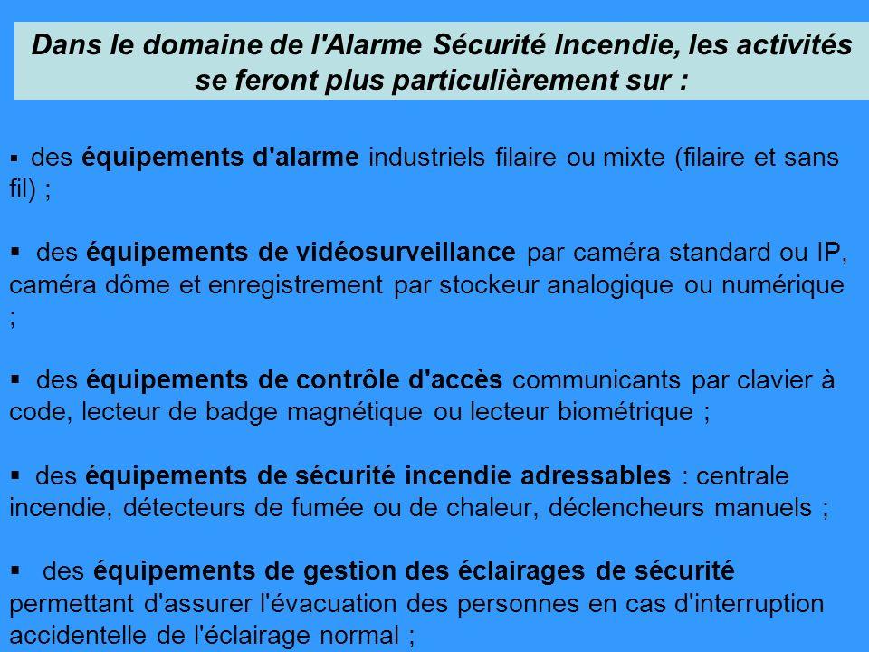 des équipements d'alarme industriels filaire ou mixte (filaire et sans fil) ; des équipements de vidéosurveillance par caméra standard ou IP, caméra d
